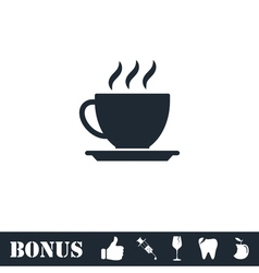 Cofee cup icon flat vector image vector image