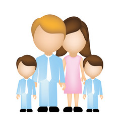 color silhouette faceless with dad mom and two vector image vector image