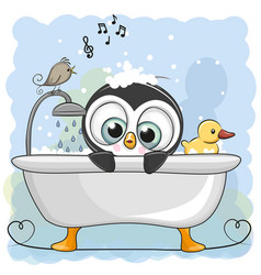 cute cartoon penguin in the bathroom vector image vector image