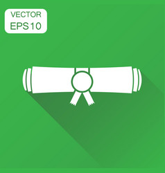 Diplom rolled scroll icon business concept finish vector