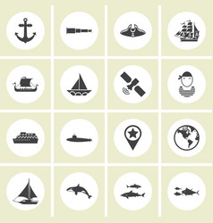 ector - set of nautical sea ocean sailing icons vector image vector image
