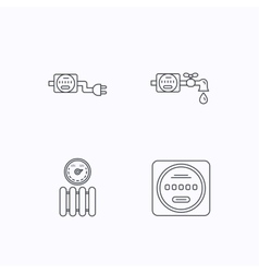Electricity radiator and water counter icons vector image