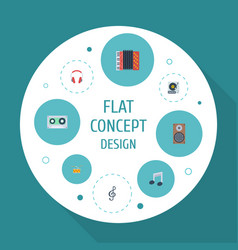 Flat icons earphone turntable harmonica and vector