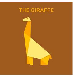 giraffe animals origami flat vector image
