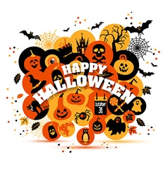 Helloween backgrouns set of color icons vector
