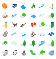 Hiking in nature icons set isometric style vector