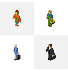 Isometric human set of investor plumber lady and vector