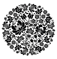 Kalocsai folk art embroidery - black hungarian vector