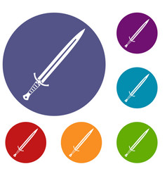 Long sword icons set vector
