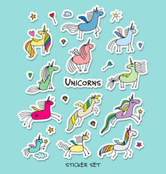 Magic unicorns stickers collection for your vector