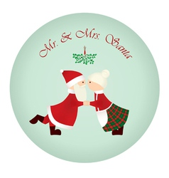 mr mrs santa under the mistletoe vector image