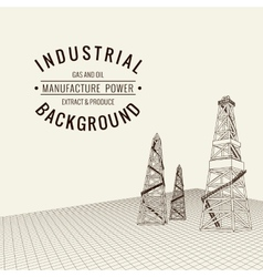 Oil derrick background vector