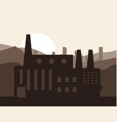 Plant sun silhouette landscape chimney factory vector