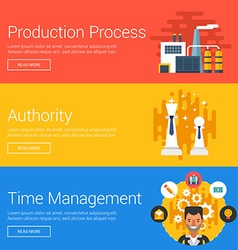 Production process authority time management flat vector