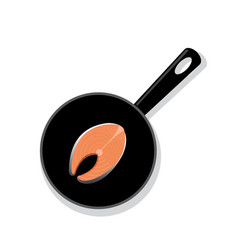 Raw salmon steak on a black round iron pan vector