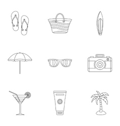 Relax on beach icons set outline style vector