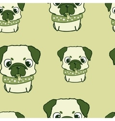 Seamless pattern with pug puppies Colorful vector image