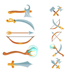 set of fantasy cartoon game design crossed vector image vector image