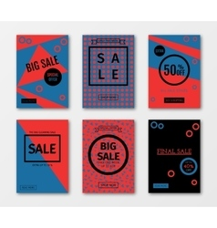 Set of sale templates with discount offer vector