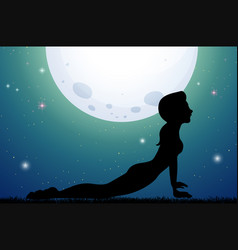 Silhouette woman doing yoga at night vector