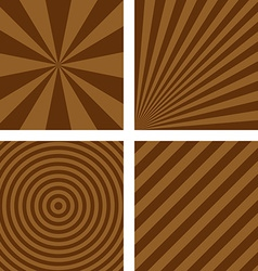 Simple brown striped background set vector