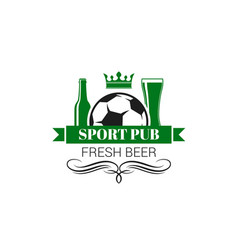 Soccer sports beer pub live game icon vector