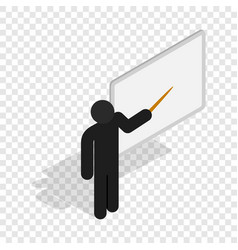 Teacher near the blackboard with pointer icon vector