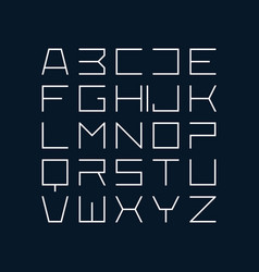 Thin line style modern uppercase font vector