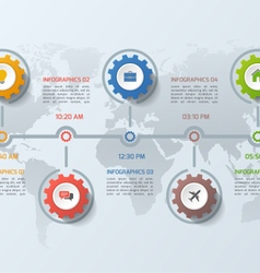 timeline infographic template with gears 5 steps vector image vector image