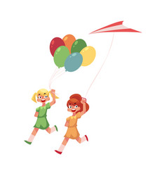 two teenage girl friends running together with vector image vector image