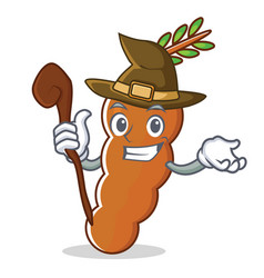 Witch tamarind mascot cartoon style vector