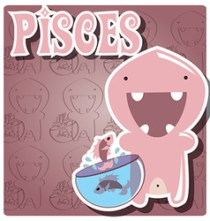 Zodiac sign Pisces with cute colorful monster vector image vector image