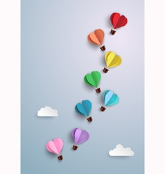 Origami made hot air balloon vector image