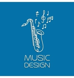 Music design with alto saxophone vector