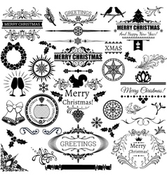 Set of christmas decorations and labels vector image