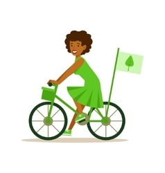 Woman on bicycle using green transportation vector
