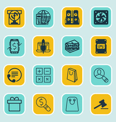 Set of 16 ecommerce icons includes dollar vector