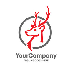 deer head logo with circle set design vector image