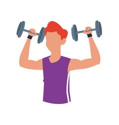 Fitness man dumbbell body gym vector