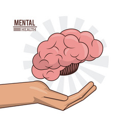 Mental health hand with brain human prevention vector