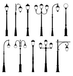 set of street lamps vector image