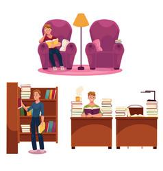 Library - reading man armchair table bookshelf vector