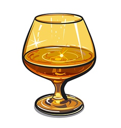 Glass of cognac vector