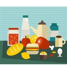 A lot of different food on the table vector