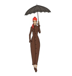 Redhead woman in coat with umbrella vector