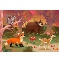 Funny animals in the wood vector
