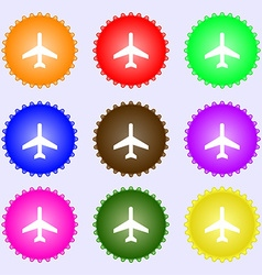 Airplane icon sign a set of nine different colored vector