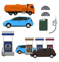 Petrol station set design flat with cars fuel vector