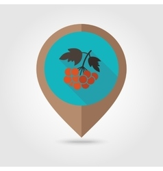 Rowan branch flat mapping pin icon vector
