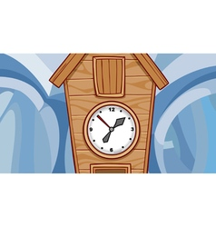 Cartoon wooden cuckoo clock vector